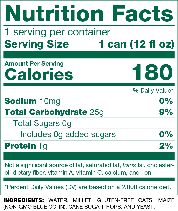 gluten free blonde nutrition facts